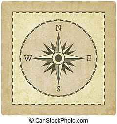 Wind rose on old background - vector illustration