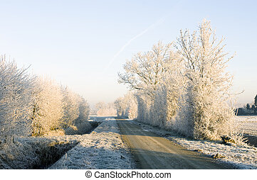 Winter road - Approaching a rural intersection on a...
