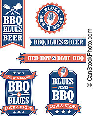 Barbecue and Blues Badges - Set of 6 Barbecue icons or...