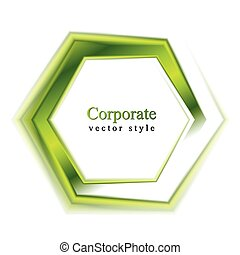 Bright green tech logo - Abstract green hexagon vector shape