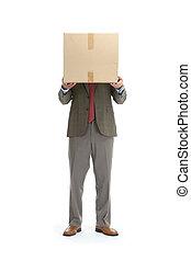 homem negócios, papelão, caixa