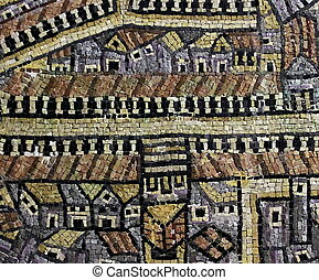 copy of the mosaic map of Jerusalem from the Byzantine...