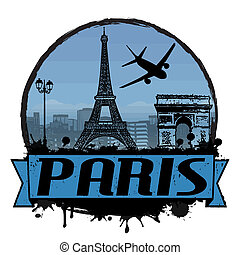 Paris vintage background - Paris vintage travel label or...