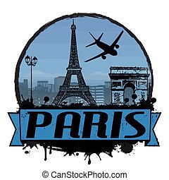 Paris vintage background - Paris vintage travel label or...