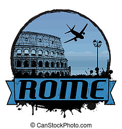 Rome vintage background - Rome vintage travel label or stamp...