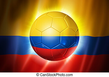 Soccer football ball with Colombia flag - 3D soccer ball...