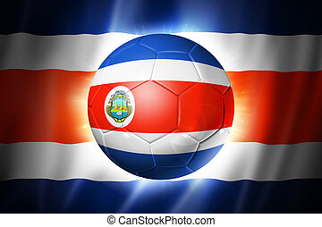 Soccer football ball with Costa Rica flag - 3D soccer ball...