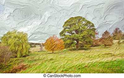 Autumn Landscape - Digital impasto painting of colorful...