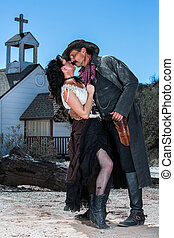 Romantic Old West Man and Woman - Old West Man and Woman...