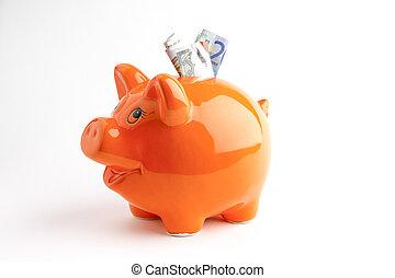 Piggy bank - Euros in a orange piggy bank