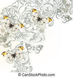 Grunge vector background with flowers and butterflies for...