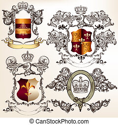 Vector set of detailed heraldic design with coat of arms and...