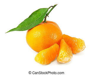 Fresh juicy tangerines on white  background