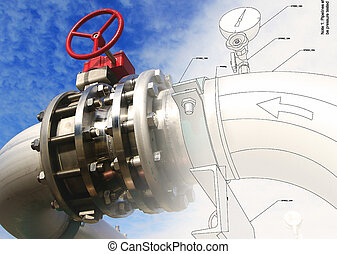 Sketch of Steel pipelines and valves against blue sky -...