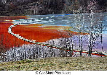 Pollution of a lake with contaminated water from a gold mine...