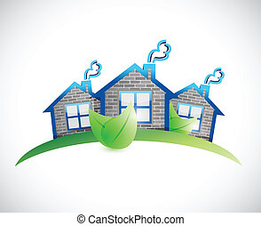 green homes real estate symbol illustration