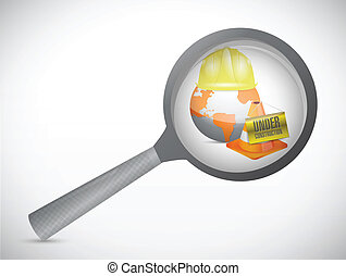 magnify glass under construction illustration