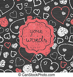 Chalkboard art hearts red frame seamless pattern background...