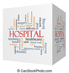 Hospital 3D Cube Word Cloud Concept - Hospital 3D cube Word...