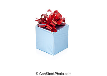 Blue gift box with red ribbon isolated on white background