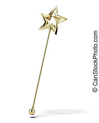 Golden magic wand isolated on a white background. 3d render