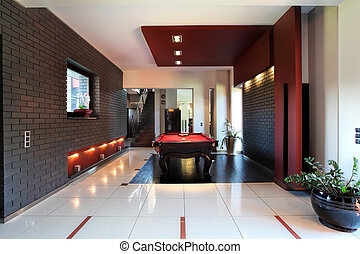 Modern interior with billiard table