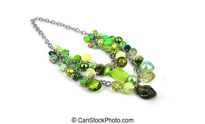 jewelry green necklace - Green necklace isolated on white...
