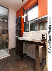 Rest room - A classy rest room with an orange wall