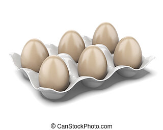 Modern egg box isolated on a white background 3d render