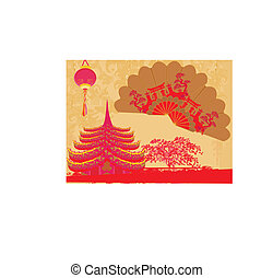 Decorative Traditional lanterns ,Chinese landscape and...