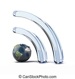 Wifi wireless icon with earth isolated on a white...