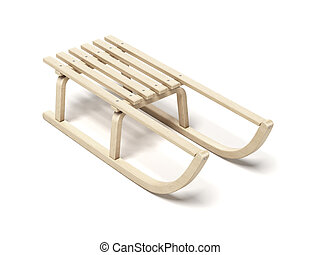 Classic wooden sled isolated on a white background. 3d...