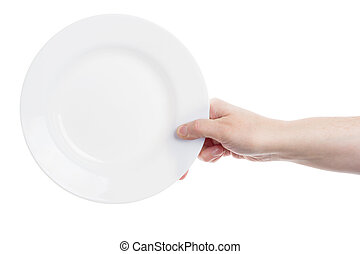 Hand holding plate - Female hand holding big white plate...