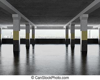 underground parking area with windows