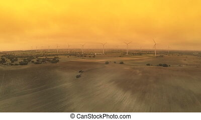 Wind turbines - Aerial view of Modern Wind turbines large...