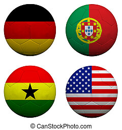3D soccer balls with group G teams flags, Football Brazil...