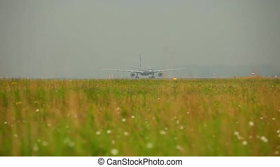 Before take-off - A-330 Airbus airliner taxiing to the...
