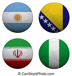 soccer balls with group F teams flags, Football Brazil 2014. isolated on white
