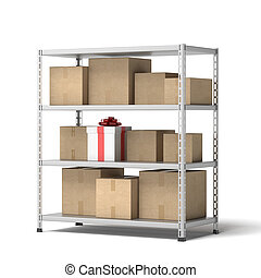 Warehouse with gift isolated on a white background. 3d...