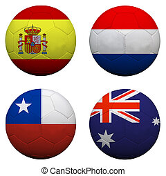 soccer balls with group B teams flags, Football Brazil 2014...