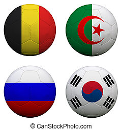 soccer balls with group H teams flags, Football Brazil 2014. isolated on white
