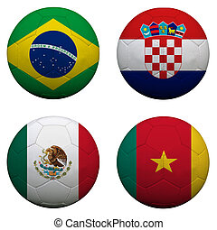 soccer balls with group A teams flags, Football Brazil 2014