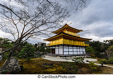 Back of Kinkakuji Temple on January 02, 2014, Kyoto Japan...