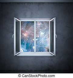 universe in window (elements furnished by NASA) - universe...