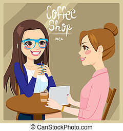 Women Drinking Coffee - Two young women friends drinking...
