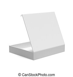 Opened flat box isolated on a white background. 3d render
