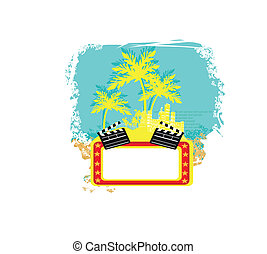 decorative background with palm trees, grunge circles and movie clapper board