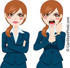 enojado, mujer de negocios, tarde, concepto