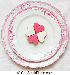 Heart shaped sweet cookies on a beautiful plate