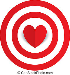 Red paper heart in the center of darts target aim